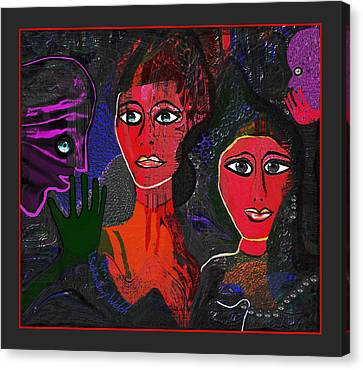 Canvas Print featuring the digital art 1977 - Faces Red by Irmgard Schoendorf Welch