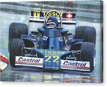 1977 Canvas Print - 1977 Monaco Gp Ensign Ford N177 Jacky Ickx by Yuriy Shevchuk