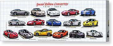 Canvas Print featuring the drawing 1978 - 2011 Special Edition Corvettes by K Scott Teeters