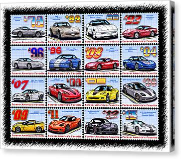 1978 - 2013 Special Edition Corvette Postage Stamps Canvas Print by K Scott Teeters