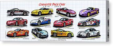 1978 - 2012 Indy 500 Pace Car Corvettes Canvas Print by K Scott Teeters