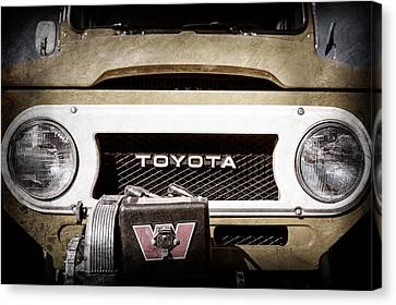Grill Canvas Print - 1978 Toyota Land Cruiser Fj40 Grille Emblem -0558ac by Jill Reger