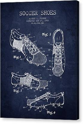 1980 Soccer Shoe Patent - Navy Blue - Nb Canvas Print by Aged Pixel
