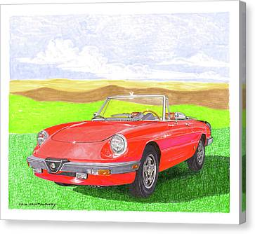 Canvas Print featuring the painting 1983 Alfa Romero Spider Veloce by Jack Pumphrey