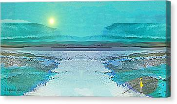 Canvas Print featuring the digital art 1983 - Blue Waterland -  2017 by Irmgard Schoendorf Welch