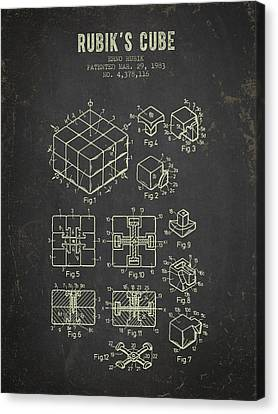 1983 Rubiks Cube Patent - Dark Grunge Canvas Print by Aged Pixel