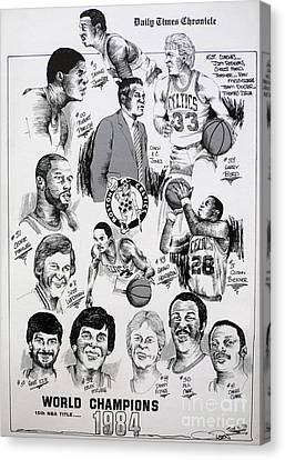 1984 Boston Celtics Championship Newspaper Poster Canvas Print by Dave Olsen