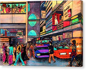 1984 Canvas Print - 1984 Vision Of Times Square 2015 by Jorge Delara