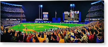 1986 World  Series At Shea Canvas Print by T Kolendera