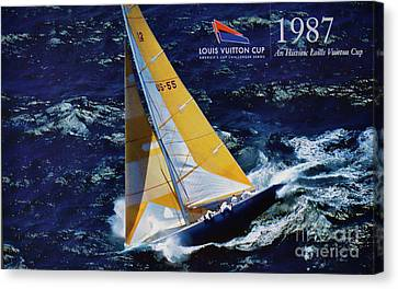 Sausalito Canvas Print - 1987 America's Cup History  by Chuck Kuhn