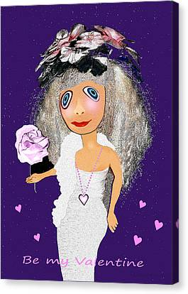 Canvas Print featuring the digital art 1989 -  I Want To Be Loved By You 2017 by Irmgard Schoendorf Welch