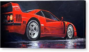 Red Ferrari Canvas Print - 1990 Ferrari F40  by Yuriy Shevchuk