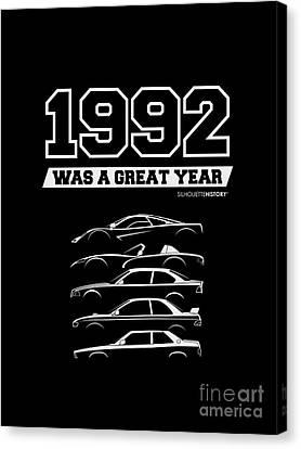 Subaru Impreza Canvas Print - 1992 Was A Great Year Silhouettehistory by Gabor Vida