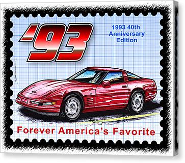 1993 40th Anniversary Edition Corvette Canvas Print by K Scott Teeters