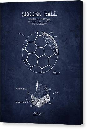 1996 Soccer Ball Patent Drawing - Navy Blue - Nb Canvas Print by Aged Pixel