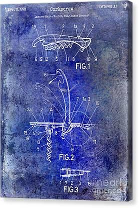 Napa Valley Vineyard Canvas Print - 1998 Corkscrew Patent 2 Blue by Jon Neidert