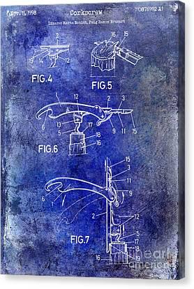 1998 Corkscrew Patent Blue Canvas Print by Jon Neidert