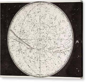Astronomical Canvas Print - 19th Century Map Of The Northern by Vintage Design Pics