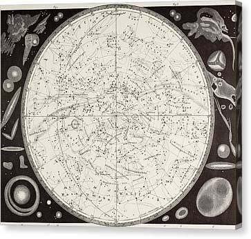 Astronomical Canvas Print - 19th Century Map Of The Southern by Vintage Design Pics