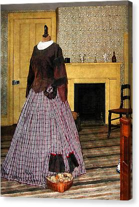 19th Century Plaid Dress Canvas Print by Susan Savad
