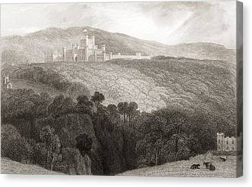 19th Century View Of Lowther Castle Canvas Print by Vintage Design Pics