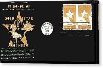 Gold Star Mother Canvas Print - 1st Day Cover Gold Star Mothers  Number 2 1948 Color Added 2016 by David Lee Guss