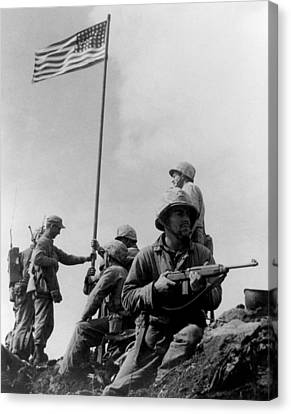 Marine Canvas Print - 1st Flag Raising On Iwo Jima  by War Is Hell Store