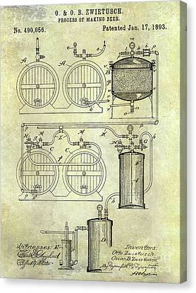 Stein Canvas Print - 1893 Beer Manufacturing Patent by Jon Neidert