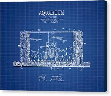 1932 Aquarium Patent - Blueprint Canvas Print by Aged Pixel