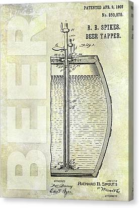 1907 Beer Tapper Patent Canvas Print