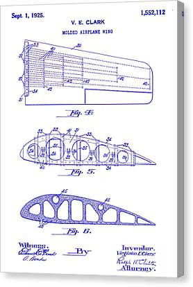 1925 Airplane Wing Patent Canvas Print