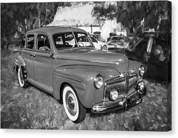 1942 Ford Super Deluxe Sedan Bw  Canvas Print