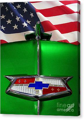 1954 Chevrolet Hood Emblem Canvas Print by Peter Piatt