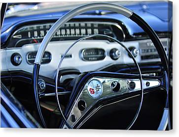 1958 Chevrolet Impala Steering Wheel Canvas Print by Jill Reger