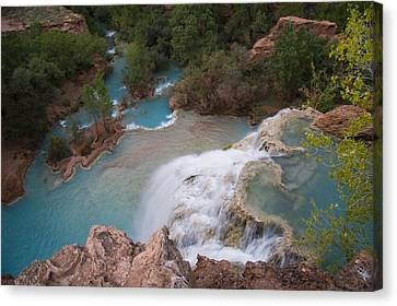 A Blue Waterfall Wets The Arid Canvas Print by Taylor S. Kennedy