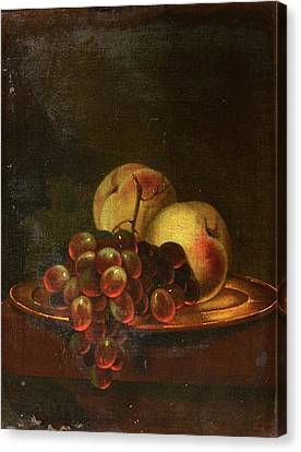 Bunch Of Grapes Canvas Print - A Brass Platter Of Peaches And Bunch Of Grapes by MotionAge Designs