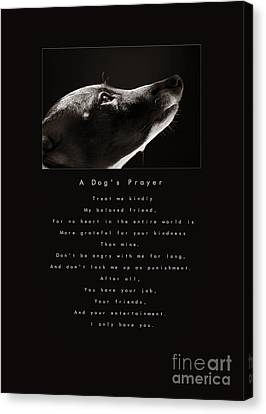 A Dog's Prayer  A Popular Inspirational Portrait And Poem Featuring An Italian Greyhound Rescue Canvas Print