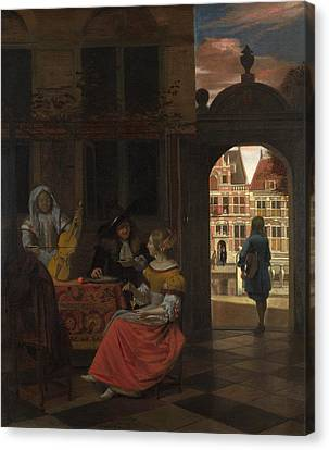 A Musical Party In A Courtyard Canvas Print by Pieter de Hooch