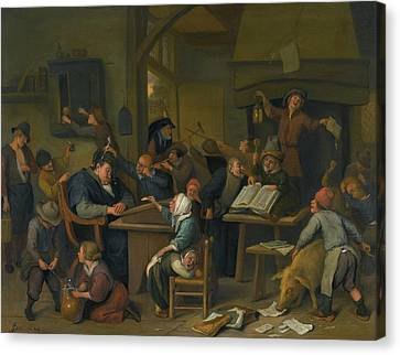 Steen Canvas Print - A Riotous Schoolroom With A Snoozing Schoolmaster by Jan Havicksz