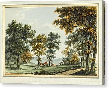 A Scene In The Garden At Brandsbury Canvas Print by Humphrey Repton