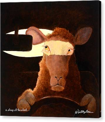 Canvas Print featuring the painting A Sheep At The Wheel... by Will Bullas
