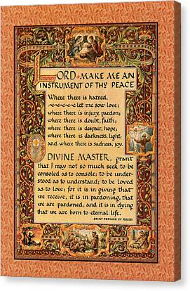 Francis Canvas Print - A Simple Prayer For Peace By St. Francis Of Assisi by Desiderata Gallery