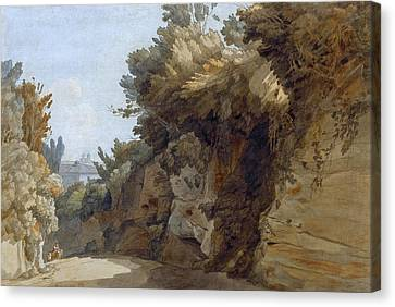 A View Near The Arco Scuro Looking Towards The Villa Medici Rome Canvas Print