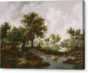 A Wooded Landscape Canvas Print by Meindert Hobbema