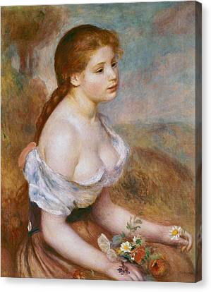 A Young Girl With Daisies Canvas Print by Pierre-Auguste Renoir