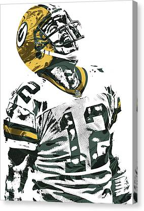 Aaron Rodgers Green Bay Packers Pixel Art 4 Canvas Print by Joe Hamilton