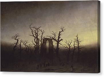 Abbey Among Oak Trees Canvas Print by Caspar David Friedrich