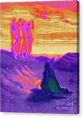 Spirits Canvas Print - Abraham And The Three Angels by Gustave Dore