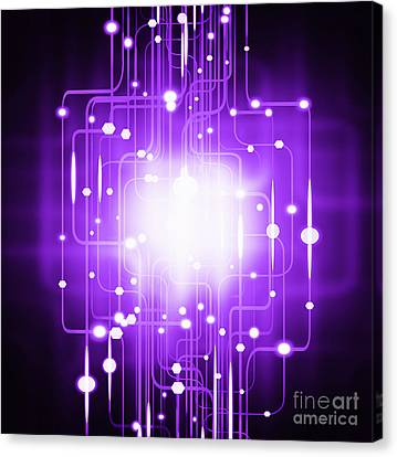 Abstract Circuit Board Lighting Effect  Canvas Print by Setsiri Silapasuwanchai