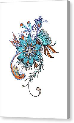Abstract Sketch Design Of Floral Decoration Canvas Print by IPolyPhoto Art